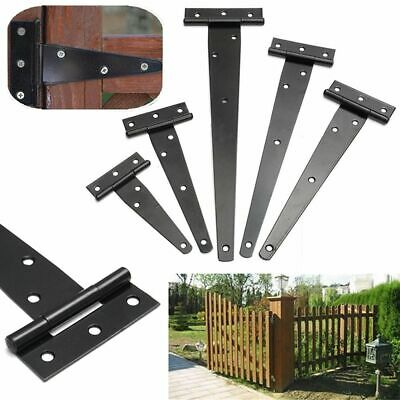 Iron Tee Hinges Black Heavy Duty Strap Cabinet Hinge Garden Shed Gate Repair