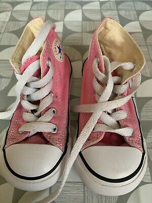 Girls Pink High Top Converse Size 7 Used VGC