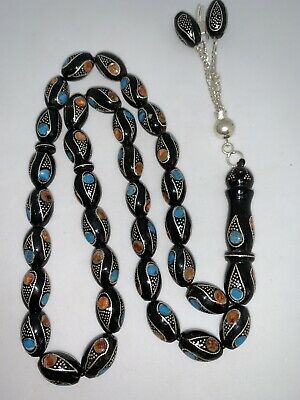 Rare Black Coral Yusr Prayer Beads Inlaid W/Silver Turquoise Misbaha Tesbih