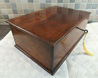 VICTORIAN 19thC SOLID FRUITWOOD BOX IDEAL FOR USE ON A DESK+ STORAGE- LOCK & KEY