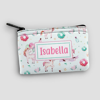 Personalised Unicorn Party Kids Mini Money Wallet Zip Pouch Coin Purse Wallet