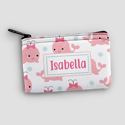 Personalised Pink Whale Kids Mini Money Wallet Zip Pouch Coin Purse Wallet
