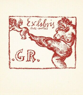 Michel FINGESTEN (1884-1943) Anti-eroticis Exlibris G R Nude kicks Cupid #540