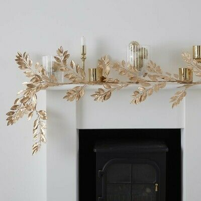 GOLD FOLIAGE CHRISTMAS GARLAND - GOLD GLITTER, Santa,Decoration,Backdrop,Wreath