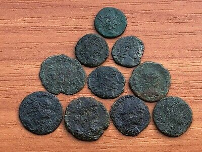 Lot of 10 Ancient Roman Imperial Bronze Coins Constantine the Great Dynasty