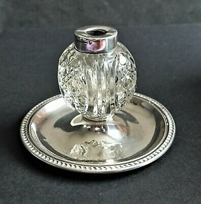 Antique Solid Silver & Cut Glass inkwell,.H'marked B'ham 1902, o/height 56mm.