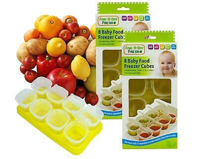 2 x Baby Weaning Food Pots Freezer Tubs Stacking Tray Cubes BPA Free Pack of 2