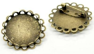 """Bronze plated 1"""" 25 mm round Setting pin brooch bezel tray double frilled edge"""