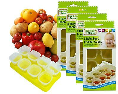 4 x Baby Weaning Food Pots Freezer Tubs Stacking Tray Cubes BPA Free Pack of 4