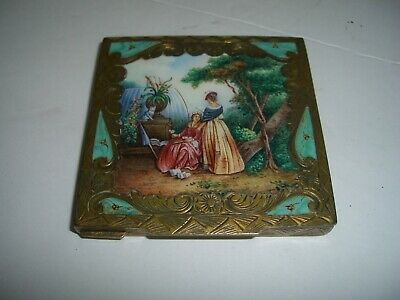 Beautiful Enameled Compact With Two Ladies And A Cat