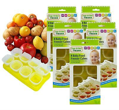 5 x Baby Weaning Food Pots Freezer Tubs Stacking Tray Cubes BPA Free Pack of 5