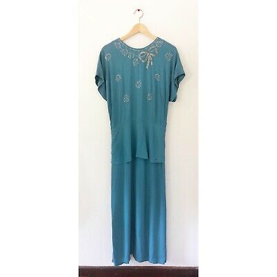 Vintage 1940s Teal Blue Crepe Rayon Dress with Beaded Embellishments 1930s
