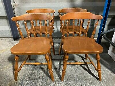 Set of 4x solid pine farmhouse dining chairs with turned detail bowed stick back