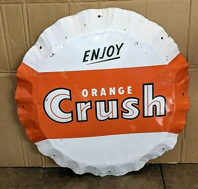 Old Original Orange Crush Convex Bottlecap Soda pop Sign TAC AUTHENTIC Stout