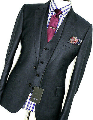Bnwt Luxury Mens Paul Smith London Soho Navy Birdseye 3 Piece Suit 42R W36