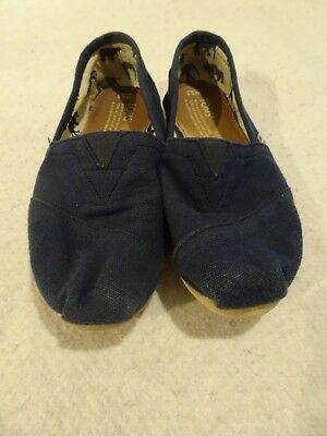 TOMS Navy Blue Canvas Slip On Comfort Shoes Flats Size 6.5 Women's Casual