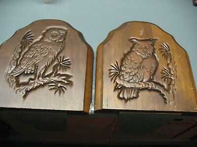 Owl  Bookends  Carved  Wood  Vintage Mid Century