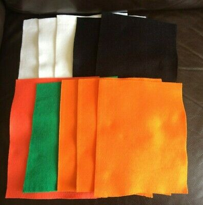 10 Halloween Craft Felt Sheets, Off cuts Pieces - Toy making, Sewing, Quilting