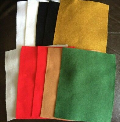 10 Christmas Craft Felt Sheets, Off cuts Pieces - Toy making, Sewing, Quilting