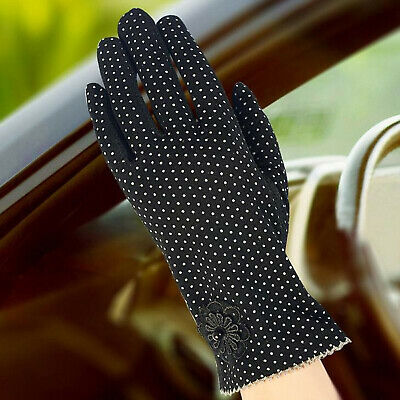 Summer UV Sunscreen Women Thin Touch Screen Gloves Fashion Flowers Knitted Lace