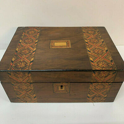 Antique Victorian Tunbridge Ware Wooden Inlaid Jewellery Sewing Box 19th century
