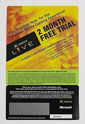 2004 2005 NEW VTG Microsoft Xbox Live Scratch Off 2 Month Free Trial Collectible