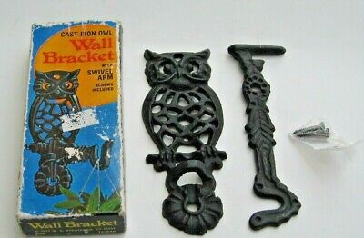 1977 Owl Cast Iron Swivel Wall Bracket With Screws - Ships FREE In The USA