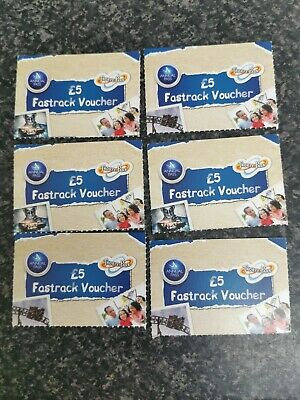 6 x Thorpe Park Fast Pass Voucher £5 each Theme Park Merlin Annual
