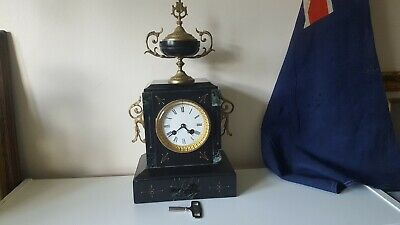 Fine Antique French Slate Striking Mantle Clock 8 Day