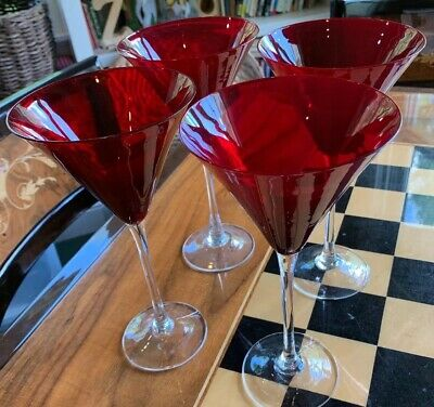 Set of 4 SIGNED LENOX Holiday Gems Ruby Red Martini Glasses
