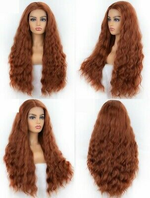 "24"" Synthetic Hair Full Head Copper Brown Women Long Wavy Lace Front Wig Fashion"