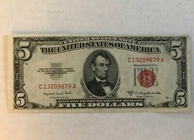 Series 1953B Five Dollar $5 Bill RED Seal Rare Old US Note Currency
