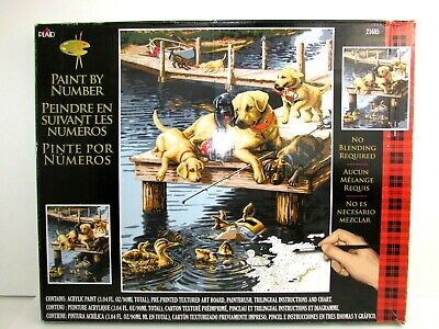 PLAID Paint By Number Kit 21685 Dock Dogs Labrador Lab Puppy 20x16 New Open Box