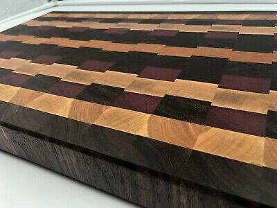 Rustic Exotic Wood Modern End Grain Cutting Board Charcuterie Serving Tray WOW!!