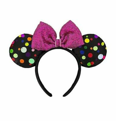 Disney Parks Minnie Mouse Polka Dot Ears & Pink Sequins Bow Headband ~ NWT