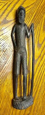 Antique 14 inch Wooden Statue Carving  of African Native Man with Walking Stick