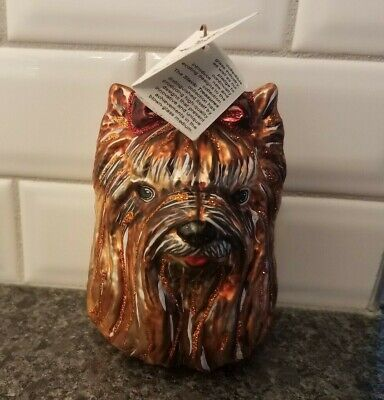 New Slavic Treasures Glass Ornament Yorkshire Terrier Yorkie