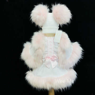 Beautiful Baby Girl White Furry Set Pink Spanish Fur Dress Fur Cape and Hat