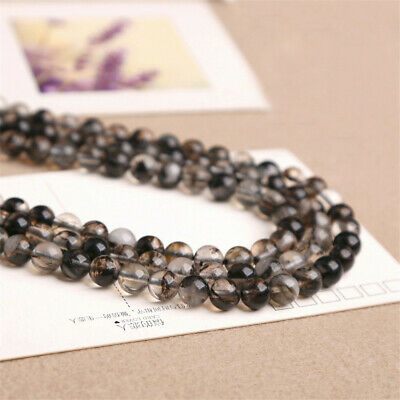 4-12mm Natural Round Black Quartz Loose Beads Diy Accessories Stone Top