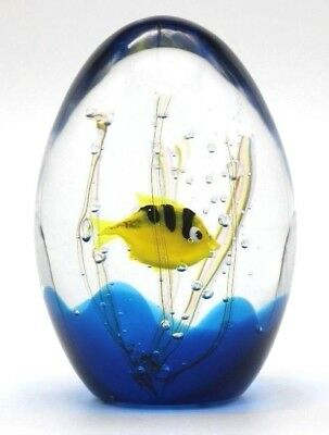 Beautiful MURANO Yellow Fish AQUARIUM Art Glass Paperweight  by ELIO RAFFAELI