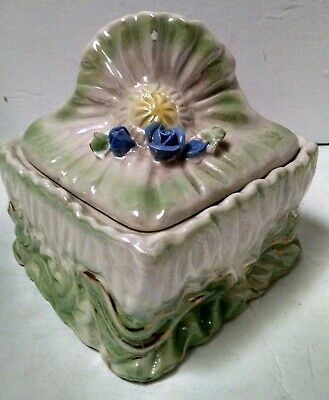 """2-Pc. Porcelain Ceramic Trinket Jewelry Box W/Lid 6"""" Tall 5"""" Square Hand-Painted"""