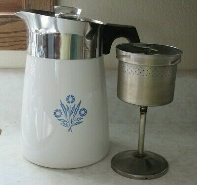 Vintage Corning Ware Stovetop Percolator - 6 Cup Coffee Pot - Cornflower Blue