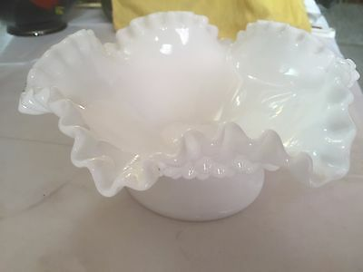 White Milk Glass Fenton Hobnail Ruffled Rim Footed Base Candy Bowl/Serving Dish
