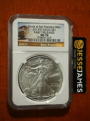 2013 (S) $1 American Silver Eagle Ngc Ms70 Er Struck At San Francisco Trolley