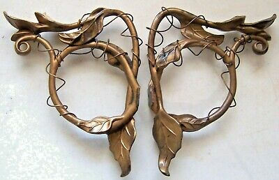 Vintage Pair Brass Bronze Brackets for ??? Lamp Wall Sconces -What is it Mystery