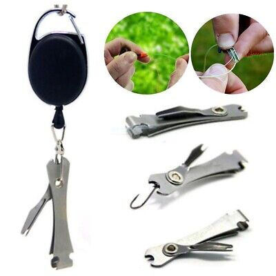 Silver Quick Knot Tool Fly Fishing Clippers Line Nipper Tying w/ Zinger outdoor