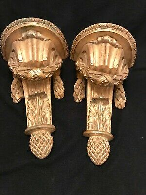 Large Ornate Italian Vintage Gold Leaf Porcelain Sconce Corbel Pair