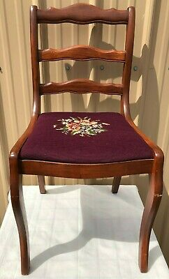 Duncan Phyfe CHAIR ANTIQUE NEEDLEPOINT SEAT DINING ROOM TABLE USA VINTAGE
