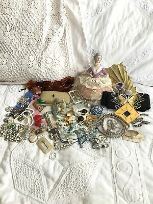 Vtg Upcycle Repurpose Collage DIY Altered Art Found Object Victorian Junk Drawer