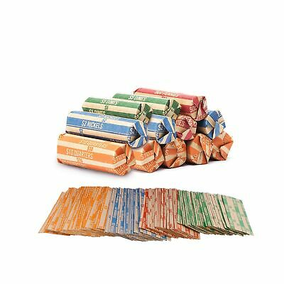 Coin Roll Wrappers -440 Pack Assorted Flat Coin Papers Bundle of Quarters Nic...